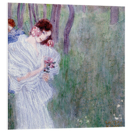 Stampa su schiuma dura  Girl with flowers at the edge of a forest - Gustav Klimt