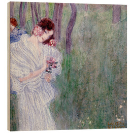 Stampa su legno  Girl with flowers at the edge of a forest - Gustav Klimt