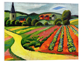 Stampa su schiuma dura  Landscape with Church and path - August Macke