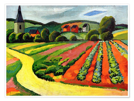 Poster Premium  Landscape with Church and path - August Macke