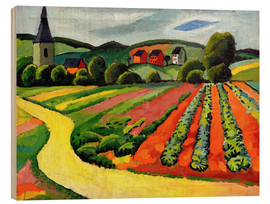 Stampa su legno  Landscape with Church and path - August Macke