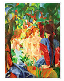 Poster Premium  Bathing Girls with Town in the Background - August Macke