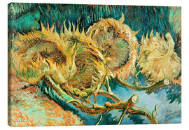 Stampa su tela  Four Cut Sunflowers - Vincent van Gogh