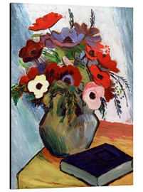 Stampa su alluminio  Still life with Anemones and Blue Book - August Macke