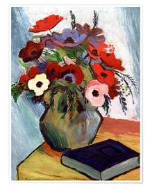 Poster Premium Still life with Anemones and Blue Book