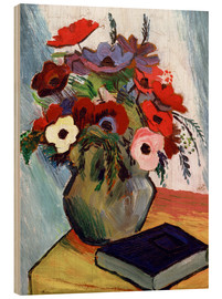 Stampa su legno  Still life with Anemones and Blue Book - August Macke