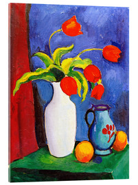 Stampa su vetro acrilico  Red tulips in white vase - August Macke