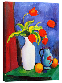 Stampa su tela  Red tulips in white vase - August Macke