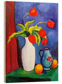 Stampa su legno  Red tulips in white vase - August Macke