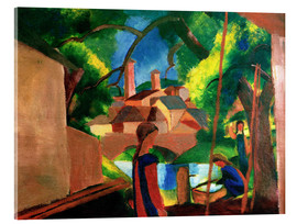 Stampa su vetro acrilico  Childrens by the Fountain, with Town in the Background - August Macke