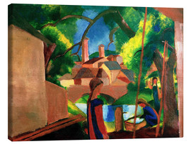 Stampa su tela  Childrens by the Fountain, with Town in the Background - August Macke