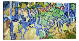Stampa su tela  Tree roots and tree trunks - Vincent van Gogh