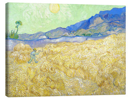 Stampa su tela  Wheat Field with Reaper at sunrise - Vincent van Gogh