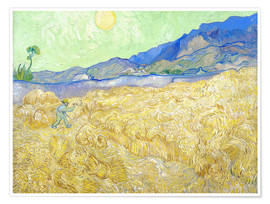 Poster Premium  Wheat Field with Reaper at sunrise - Vincent van Gogh