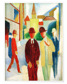 Poster Premium Bright street with people