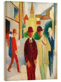 Stampa su legno  Bright street with people - August Macke