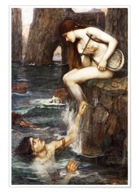 Poster Premium  La sirena - John William Waterhouse