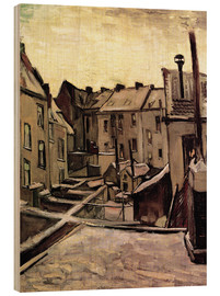 Stampa su legno  Backyards of Old Houses in Antwerp in the Snow - Vincent van Gogh