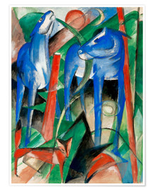 Poster Premium  Creation of the horses (three Fabeltiere) - Franz Marc