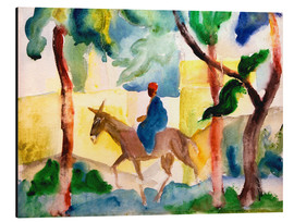 Stampa su alluminio  Man Riding on a Donkey - August Macke