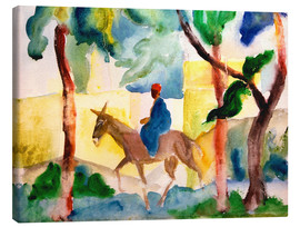Stampa su tela  Man Riding on a Donkey - August Macke