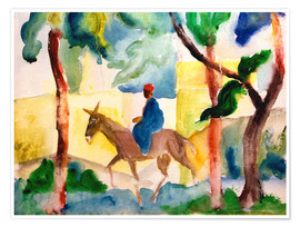 Poster Premium  Man Riding on a Donkey - August Macke