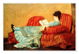 Poster Premium Young Lady Reading