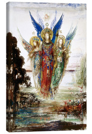 Stampa su tela  Job and the Angels - Gustave Moreau