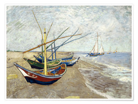 Poster  Fishing Boats on the Beach at Saintes-Marie-de-la-Mer - Vincent van Gogh