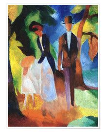 Poster Premium  People at the blue lake - August Macke