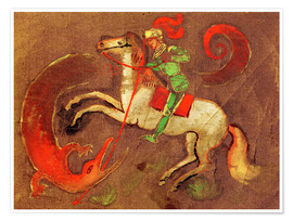 Poster Premium  Knight George and dragon - August Macke