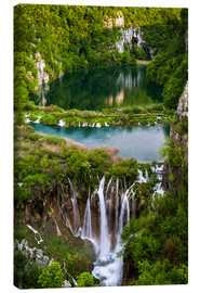 Stampa su tela  Waterfall Paradise Plitvice Lakes - Andreas Wonisch