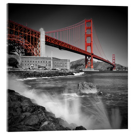 Stampa su vetro acrilico  Golden Gate Bridge Fort Point - Melanie Viola