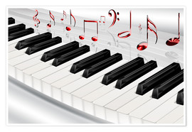 Poster  Piano keyboard with notes - Kalle60