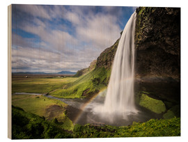 Stampa su legno  Sejalandsfoss Waterfall with Rainbow - Andreas Wonisch
