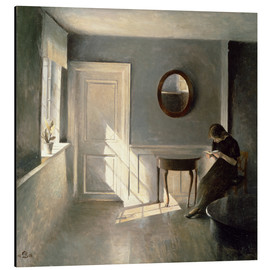 Stampa su alluminio  Girl Reading a Letter in an Interior - Peter Vilhelm Ilsted