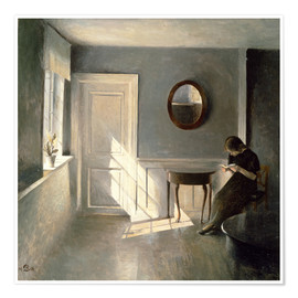 Poster Girl Reading a Letter in an Interior