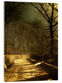 Stampa su vetro acrilico  A Moonlit Lane, with two lovers by a gate - John Atkinson Grimshaw