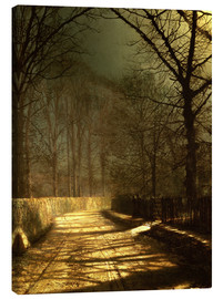 Tela  A Moonlit Lane, with two lovers by a gate - John Atkinson Grimshaw