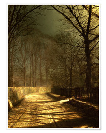 Poster Premium  A Moonlit Lane, with two lovers by a gate - John Atkinson Grimshaw