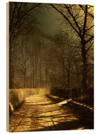 Stampa su legno  A Moonlit Lane, with two lovers by a gate - John Atkinson Grimshaw