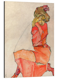 Alluminio Dibond  Kneeling woman in red dress - Egon Schiele