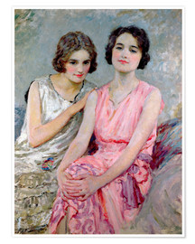 Poster Premium Two Young Women Seated