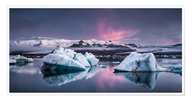 Poster Premium  Eisebergs at Icelands Glacier Lagoon - Andreas Wonisch