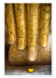 Poster Premium Golden fingers of a Buddha statue