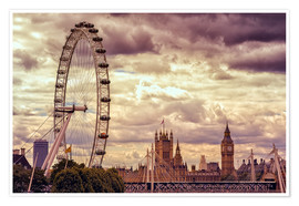 Poster Premium  London Eye & Big Ben - Stefan Becker