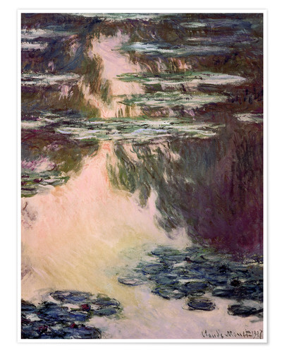 Poster Premium Waterlilies with Weeping Willows