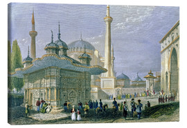 Stampa su tela  Fountain and Square of St. Sophia, Istanbul - William Henry Bartlett