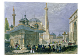 Stampa su schiuma dura  Fountain and Square of St. Sophia, Istanbul - William Henry Bartlett