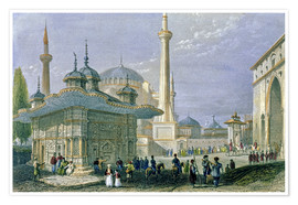 Poster Premium  Fountain and Square of St. Sophia, Istanbul - William Henry Bartlett